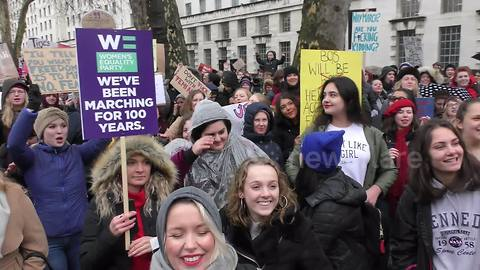 """Marchers gather outside Downing St in London for """"Time's Up"""""""