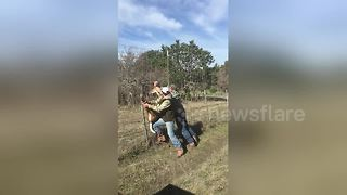 Noble Hunters Rescue Hapless Deer Caught In Fence - Video