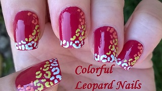 Colorful leopard nail art using a toothpick