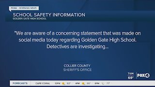 A concerning social media statement increases law enforcement at a Naples high school