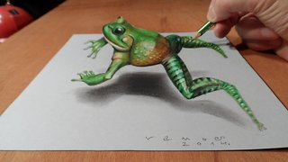 How to draw a 3D jumping frog - Video