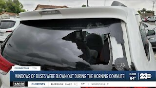 Windows of buses were blown out during morning commute