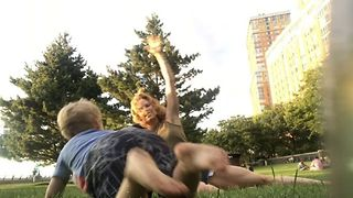 Fitness-Loving Mother and Young Son Workout at the Park - Video