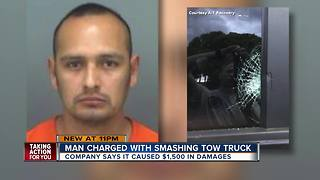 Clearwater man arrested for smashing window of tow truck - Video