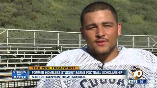 Former homeless Steele Canyon student earns football scholarship - Video