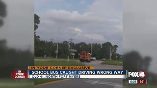 School bus caught driving the wrong way in North Fort Myers - Video