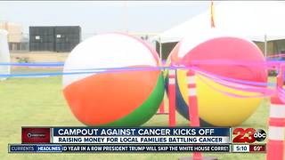 Locals gather to campout against cancer and help local families in their fight - Video