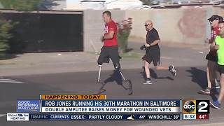 Wounded marine stops in Baltimore trying to run 31 marathons in 31 days - Video