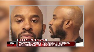 Kenyel Brown, suspect wanted in connection to 6 homicides, shoots himself