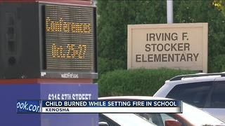 Kenosha student starts school bathroom fire - Video