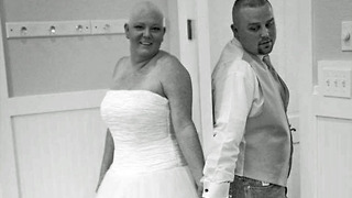 Brave bride with cancer throws wig before flinging bouquet at wedding reception