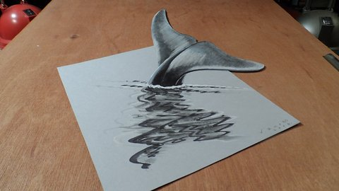 How to draw a 3D Blue Whale