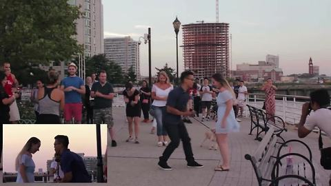 Jersey City surprise flash mob marriage proposal