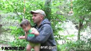 9-Month-Old Baby Swings Freely from Rope in Woods - Video