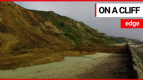 Dramatic footage shows huge landslide on a quiet beach
