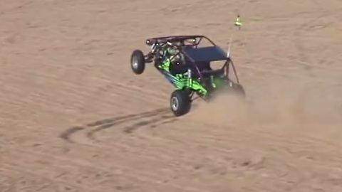 10-year-old driver pulls off ridiculous wheel in sand rail!