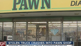 Stolen Truck Crashes Into Pawn Shop - Video