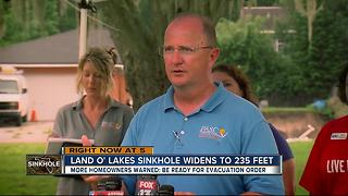 Land O' Lakes sinkhole widens to 235 feet