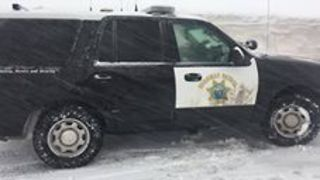 California Highway Patrol Vehicle Gets Stuck in Sierra Snow - Video