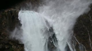 Waterfall in Croatia blown upwards by high winds - Video