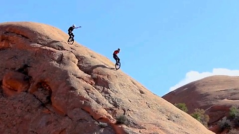 Thrill Seekers Ride Unicycles Down Mountains