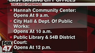 East Lansing city offices open late due to weather - Video