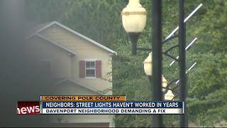 Polk neighbors blame dark streets for crime - Video