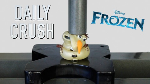 Olaf toy gets crushed by hydraulic press