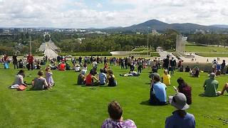 First Person View of Mass Roll-a-thon Down Parliament House Hill - Video