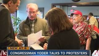 Congressman Yoder talks to protesters - Video