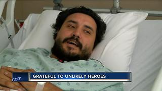Man grateful to be alive after rescued by unlikely heroes - Video