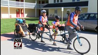 Michigan family embarks on bike ride for cancer research - Video