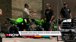 Kawasaki shuts down MKE streets to shoot ad - Video