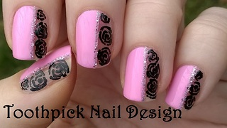Baby Pink Toothpick Nail Art With Black Roses - Video
