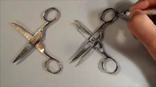 How to draw realistic scissors - Video
