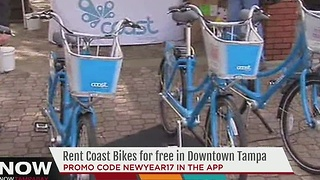 Rental Coast Bikes for free in Downtown Tampa - Video