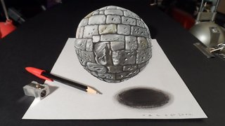 How to draw a levitating stone ball