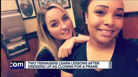 Two teenagers learn lessons after dressing up as clowns for a prank