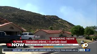 Evacuations ordered, I-8 partially closed due to Jennings Fire - Video