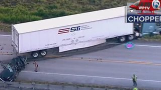 Semi, pickup truck involved in crash near Fort Pierce - Video