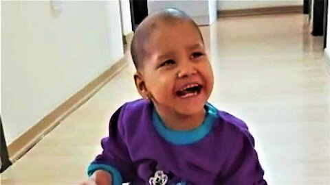 Family thrilled to hear baby laugh with joy after two year cancer battle