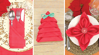 3 ways to fold a napkin for Christmas - Video
