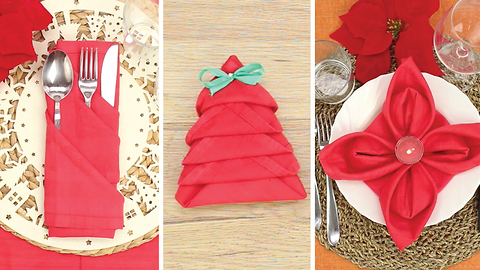 3 ways to fold a napkin for Christmas
