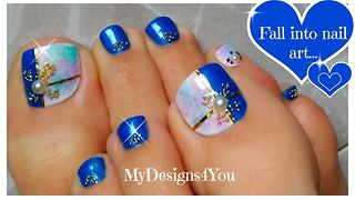 DIY Marble effect toenail art design