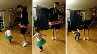 Adorable moment doting dad plies and pirouettes in a tutu to teach daughter ballet - Video