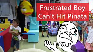 Frustrated Boy Throws Bat After Missing Pinata!