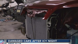 Icy Night Leads to Fender Benders - Video