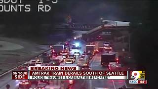 Amtrak train derails south of Seattle - Video