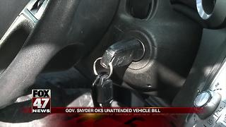 Snyder OKs unattended vehicle, electronic registration bills - Video