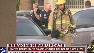 Woman, 3 children hospitalized after house fire - Video
